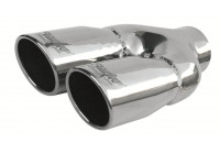 Simoni Racing Exhaust trim Dubbel Round / Oblique stål - Diameter 76mm - Längd 230mm - 58mm Montering