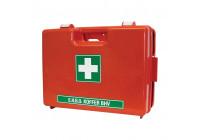 Första hjälpen-låda med orange väggfäste dubbelvaks