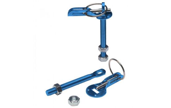 Set of universal motor hooks / pins - blue aluminum