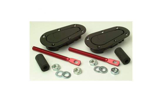 Set of universal Racing Plus Flush Bonnet hooks / pins - black + red aluminum pins