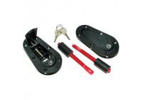 Set of universal Racing Plus Flush motor pin hooks / pin + Lock - black + red aluminum pins