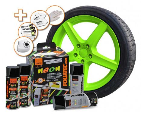 Foliatec Spray Film (Spray film) set - neon green - 4 parts
