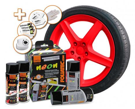 Foliatec Spray Film (Spray foil) set - NEON red - 4 parts