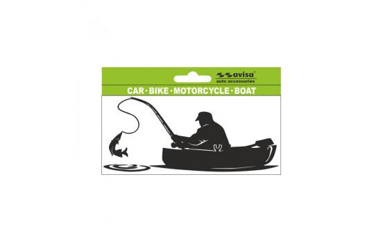 AutoTattoo Sticker Fisher in Boat - 14x6,5cm