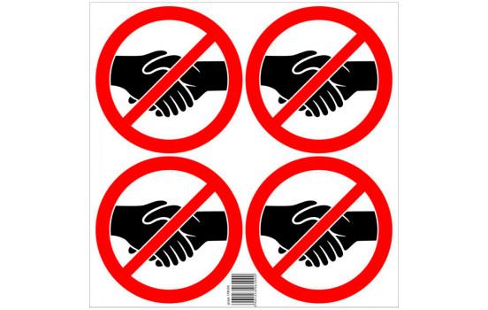 Sticker set Forbidden to shake hands - 4x 15cm