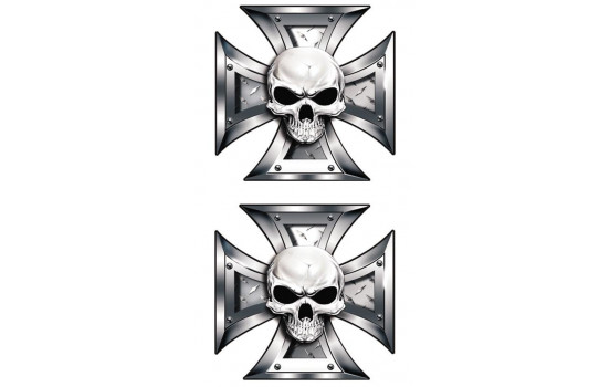 Stickerset Skull + BlackEyes in IronCross - 2x 8x8cm