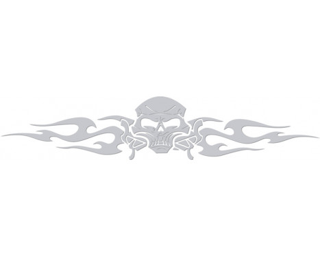 Window sticker Tribal Skull - silver - 99x20cm
