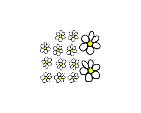 Sticker Flowers - white / yellow - 13.5x15.5cm