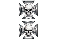Stickerset Skull + BlackEyes in IronCross - 2x 8x8cm