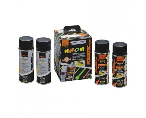 Foliatec Spray Film (Spray Foil) NEON 4-piece Set - yellow 2x400ml + base coat 2x400ml
