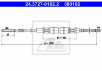 Cable, parking brake 24.3727-0102.2 ATE
