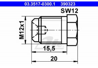 Låsskruv, huvudbromscylinder 03.3517-0300.1 ATE