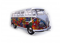 VW T1 Wandklok - FLOWER