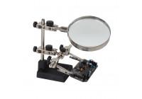 Derde hand met vergrootglas -lens: Ø 90mm (4-dioptrie) - afmetingen: 135 x 175 x 120mm
