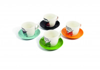 VW T1 Bus Espresso Cups, 4-delig set - ORANJE, GROEN, BENZINE / BROWN & RED / BLACK