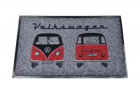 VW T1 Bus deurmat,   45 x 75cm  rood / zwart