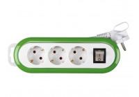 3-WAY POWER STRIP WITH SWITCH - GREEN / WHITE - GROUND