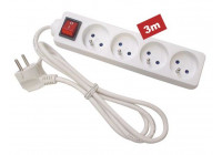 4-FIRST PLUG SOCKET MED SWITCH - 3 m CABLE - PENAARDE