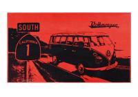 VW T1 strandhandduk 160 cm x 90 cm - higway 1 röd / svart