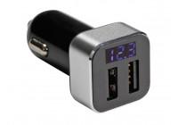 CHARGEUR USB POUR VOITURE AVEC 2 x CONNEXION USB ET AFFICHAGE (5 VDC - 2.1 A) - 10 W max.