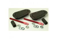 Set universele Racing Plus Flush motorkaphaken/-pins - zwart + rood aluminium pins