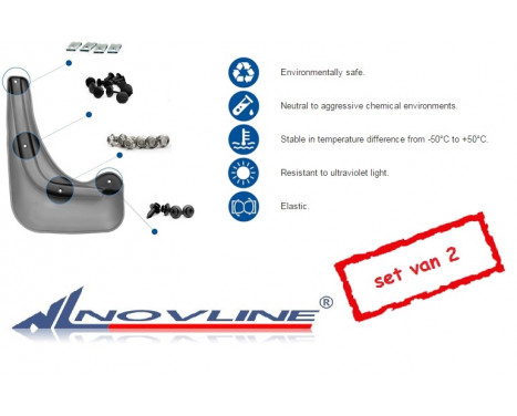 Spatlappenset (mudflaps) voorzijde FIAT 500, 2011 tot 2016 2pcs. Polyurethaan , Afbeelding 2