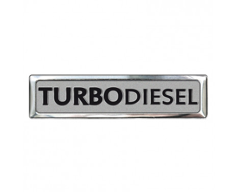 Aluminium Embleem/Logo - TURBO DIESEL - 7x1,7cm