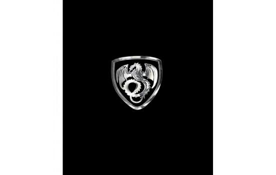 Nikkel Sticker 'Dragon in a shield' - 50x45mm