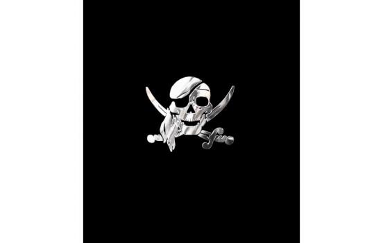 Nikkel Sticker 'Pirate Skull' - 66x55mm