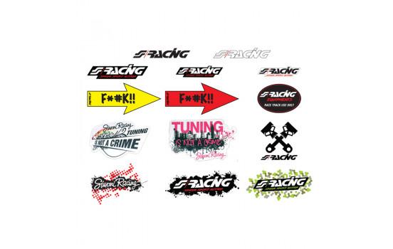 Simoni Racing Stickervel 'Mixed' - 14 verschillende stickers