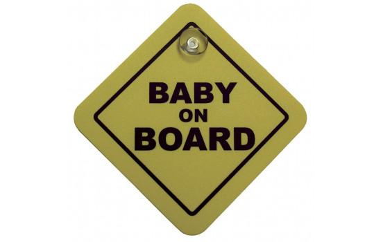 Sticker/Bordje Baby On Board - geel - 16x16cm