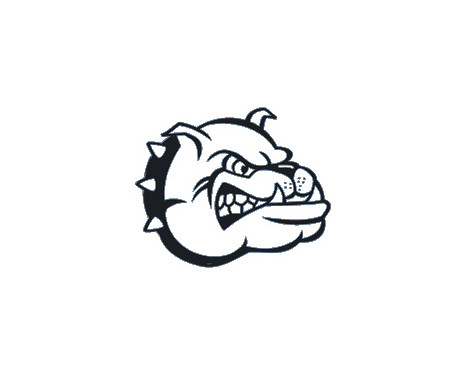 Sticker Bulldog Head - zwart - 16x13cm