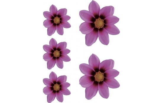 Sticker Flower Garden - roze - 2x 16x15cm + 3x 8,5x8cm