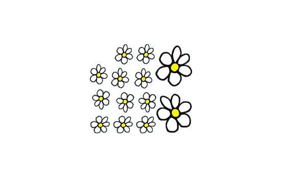 Sticker Flowers - wit/geel - 13.5x15.5cm