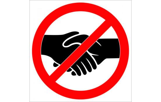 Sticker Verboden handen te schudden - 15cm