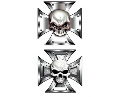 Stickerset Skull in IronCross - 2x 8x8cm, Afbeelding 2