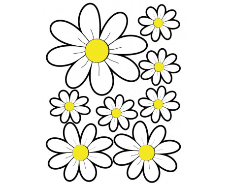 Stickervel Flowers - wit - 24,5x32,5cm
