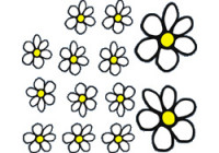 Sticker Flowers - wit/geel - 13.5x15.5cm