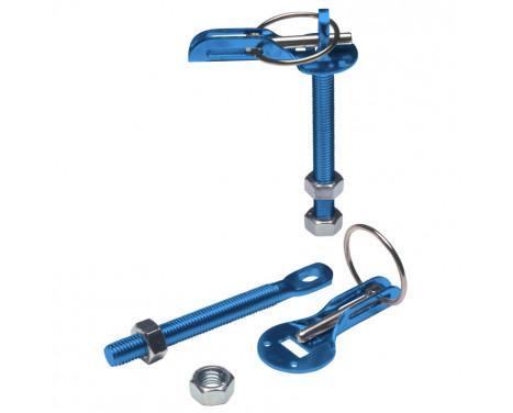 Jeu de crochets / goupilles universels pour capot moteur - aluminium bleu