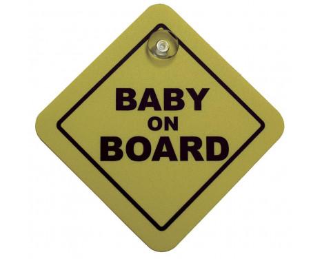 Autocollant / Assiette Bébé à bord - jaune - 16x16cm