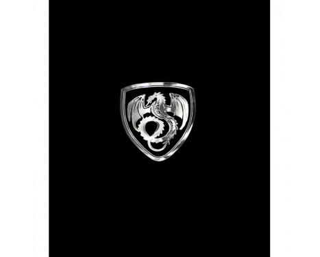 Autocollant Nickel 'Dragon dans un bouclier' - 50x45mm
