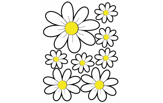 Feuille d'autocollants Fleurs - blanc - 24.5x32.5cm