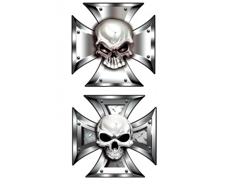 Stickerset Skull in IronCross - 2x 8x8cm
