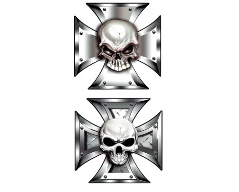 Stickerset Skull in IronCross - 2x 8x8cm, Image 2