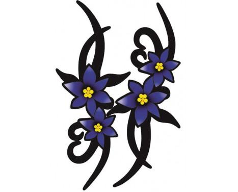 Stickerset Violet Fleurs Tribales - 2x 23x9cm
