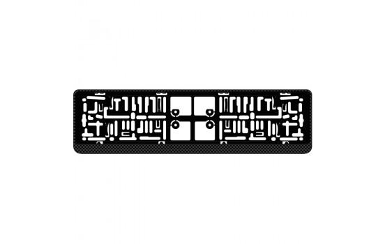 Support de plaque d'immatriculation en plastique 'Click' 52x11cm aspect carbone