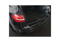 Protection de seuil arrière en acier inoxydable noir Mercedes Classe C W205 Kombi 2014- 'RIbs'