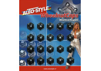 Set Universal hjulmutter caps - svart plast - 19mm - set á 20 st