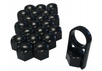 Universella hjulknoppar svart plast 17mm
