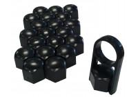 Universella hjulknoppar svart plast 19mm
